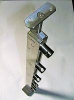 SLOUPEK zábradlí HRANATÝ dvojitý nerez na schodiště