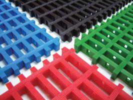 Modrá univerzální průmyslová protiskluzová olejivzdorná rohož (mřížka 30 x 10 mm) - délka 5 m, šířka 120 cm a výška 1,2 cm FLOMAT