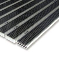 Černá gumová hliníková čistící venkovní vstupní rohož Alu Low - 100 x 100 x 1 cm