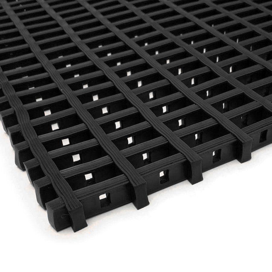 Černá univerzální průmyslová protiskluzová olejivzdorná rohož (mřížka 22 x 10 mm) - délka 5 m, šířka 90 cm a výška 1,2 cm FLOMAT