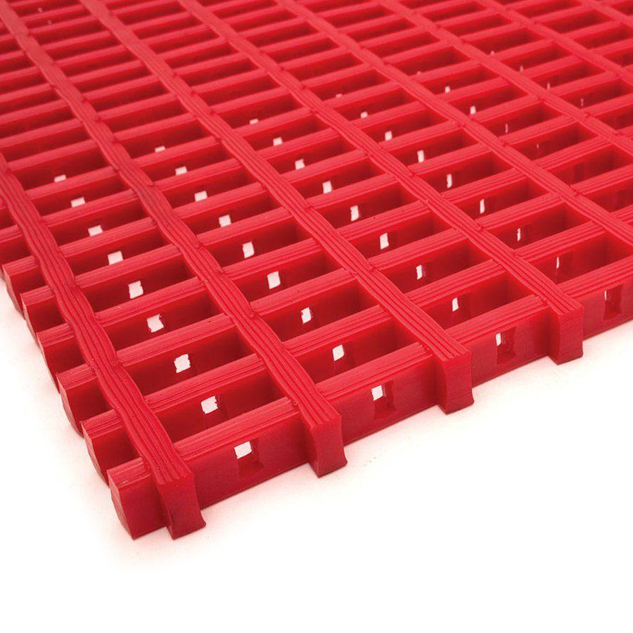 Červená univerzální průmyslová protiskluzová olejivzdorná rohož (mřížka 22 x 10 mm) - délka 10 m, šířka 60 cm a výška 1,2 cm FLOMAT