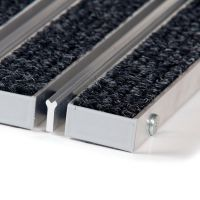Textilní hliníková čistící vstupní vnitřní kartáčová rohož Alu Wide - 100 x 100 x 2,2 cm