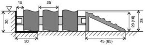 Hliníková gumová vstupní venkovní rohož Alu Wave, FLOMAT - délka 100 cm, šířka 100 cm a výška 2,8 cm