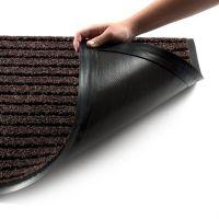 Hnědá textilní vstupní vnitřní čistící zátěžová rohož Shakira, FLOMAT - délka 60 cm, šířka 90 cm a výška 1,6 cm