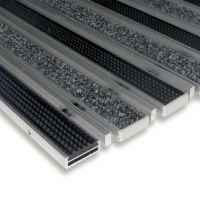 Textilní gumová hliníková čistící vstupní vnitřní kartáčová rohož Alu Low Extra - 100 x 100 x 1 cm