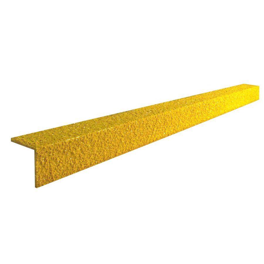 Žlutá karborundová schodová hrana - délka 300 cm, šířka 5,5 cm, výška 5,5 cm a tloušťka 0,5 cm FLOMAT