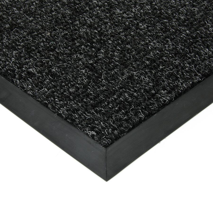 Černá textilní vstupní vnitřní čistící zátěžová rohož Catrine, FLOMAT - délka 90 cm, šířka 140 cm a výška 1,35 cm