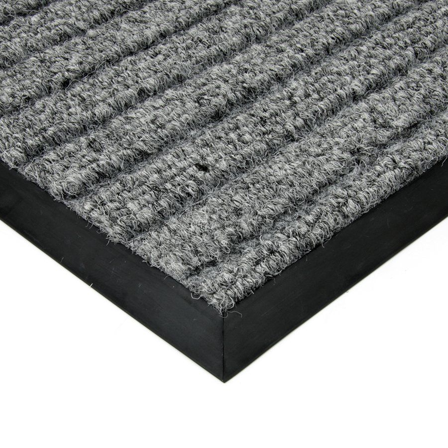 Šedá textilní vstupní vnitřní čistící zátěžová rohož Shakira, FLOMAT - délka 90 cm, šířka 140 cm a výška 1,6 cm