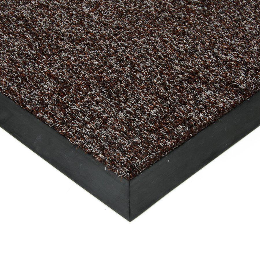 Tmavě hnědá textilní vstupní vnitřní čistící zátěžová rohož Catrine, FLOMAT - délka 70 cm, šířka 100 cm a výška 1,35 cm