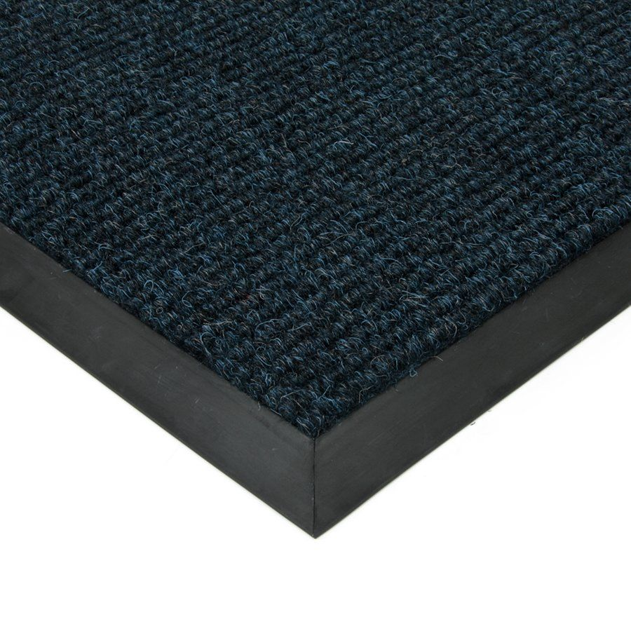 Modrá textilní vstupní vnitřní čistící zátěžová rohož Catrine, FLOMAT - délka 90 cm, šířka 140 cm a výška 1,35 cm