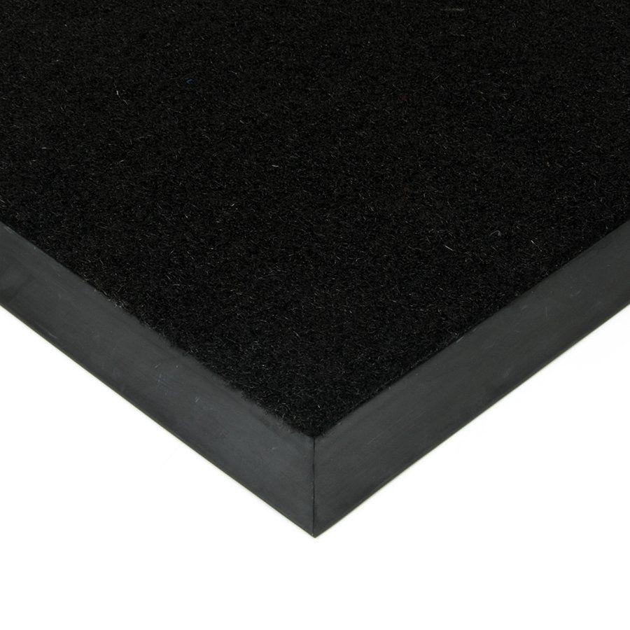 Černá plastová kokosová textilní vstupní vnitřní venkovní čistící zátěžová rohož Synthetic Coco, FLOMAT - délka 60 cm, šířka 80 cm a výška 1 cm
