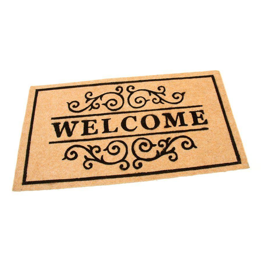 Béžová textilní vstupní čistící vnitřní rohož Welcome - Deco, FLOMAT - délka 33 cm, šířka 58 cm a výška 0,3 cm