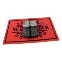 Červená textilní vstupní čistící vnitřní rohož Welcome - Deco, FLOMAT - délka 45 cm, šířka 75 cm a výška 0,3 cm