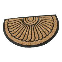 Kokosová čistící venkovní vstupní půlkruhová rohož Flower, FLOMAT - délka 45 cm, šířka 75 cm a výška 0,8 cm