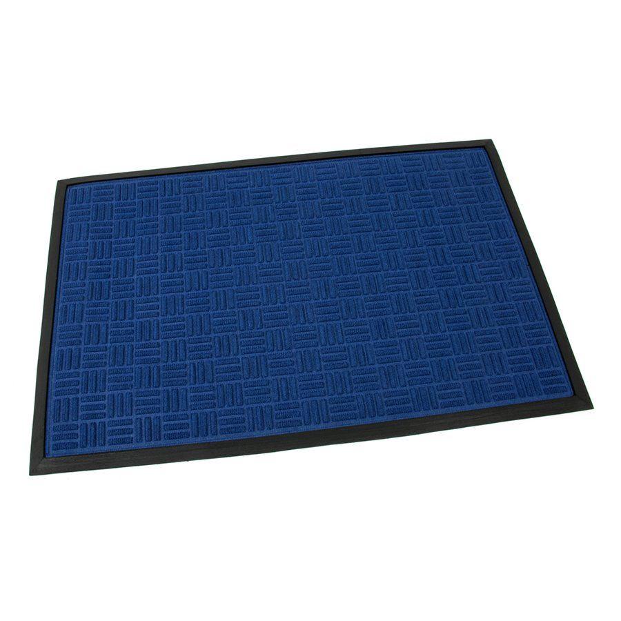 Modrá textilní gumová čistící vstupní rohož Criss Cross, FLOMAT - délka 60 cm, šířka 90 cm a výška 0,8 cm