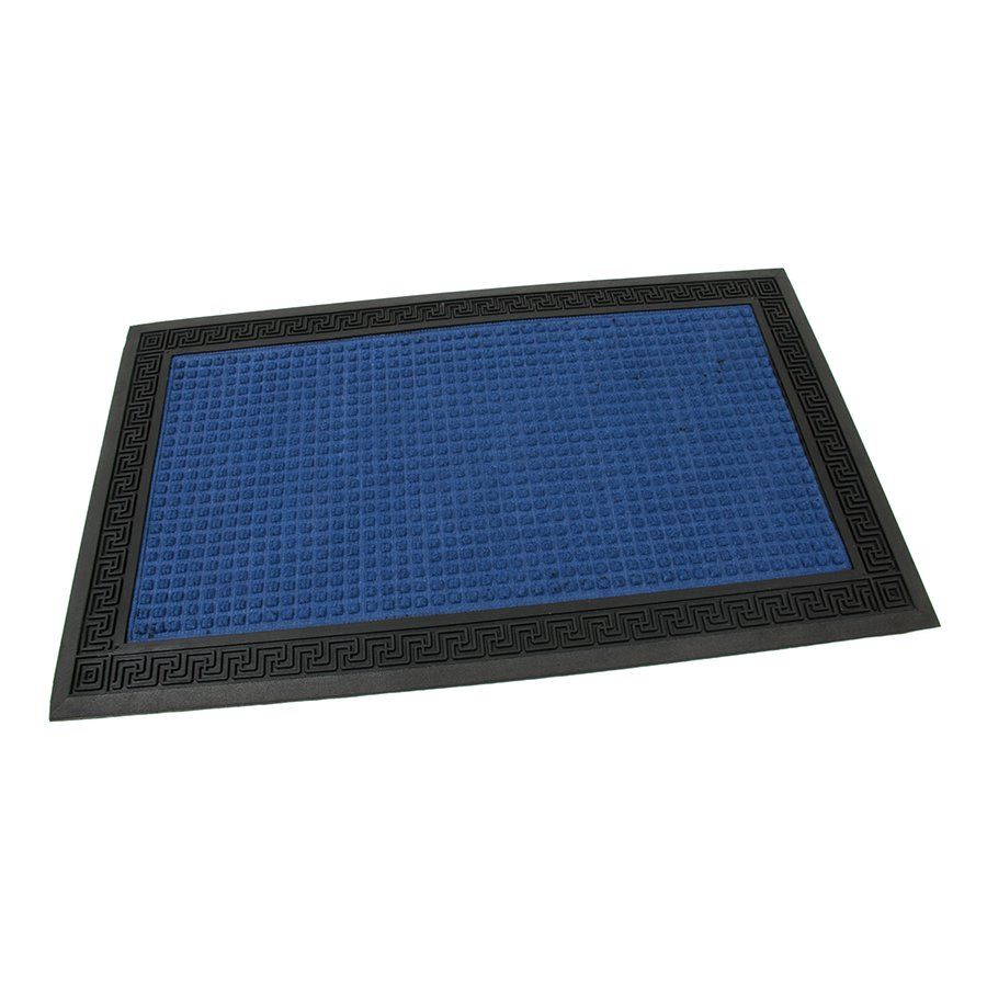 Modrá textilní gumová čistící vstupní rohož Deco - Little Squares, FLOMAT - délka 45 cm, šířka 75 cm a výška 0,8 cm