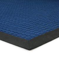 Modrá textilní gumová čistící vstupní rohož Little Squares, FLOMAT - délka 120 cm, šířka 180 cm a výška 0,8 cm