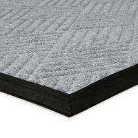 Šedá textilní gumová čistící vstupní rohož Crossing Lines, FLOMAT - délka 60 cm, šířka 90 cm a výška 1 cm