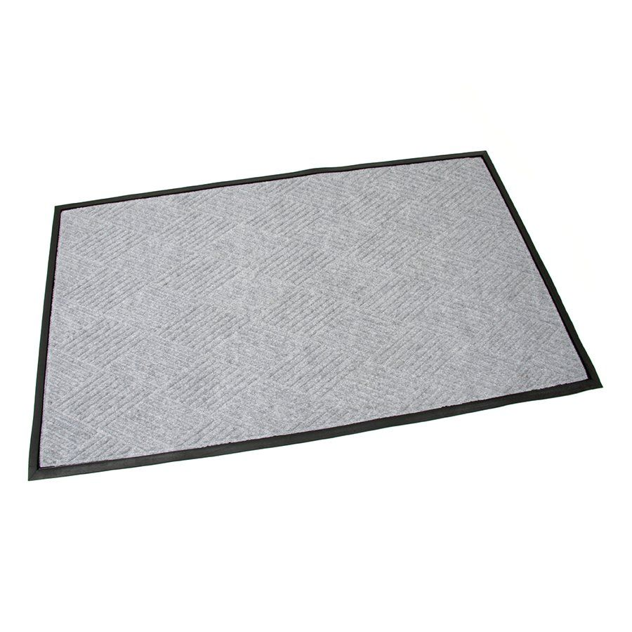 Šedá textilní gumová čistící vstupní rohož Crossing Lines, FLOMAT - délka 90 cm, šířka 150 cm a výška 1 cm