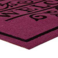 Vínová textilní vstupní čistící vnitřní rohož Welcome - Deco, FLOMAT - délka 45 cm, šířka 75 cm a výška 0,3 cm
