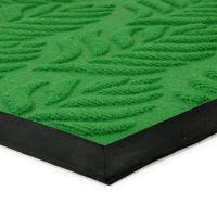 Zelená textilní gumová čistící vstupní rohož Leaves, FLOMAT - délka 45 cm, šířka 75 cm a výška 1 cm