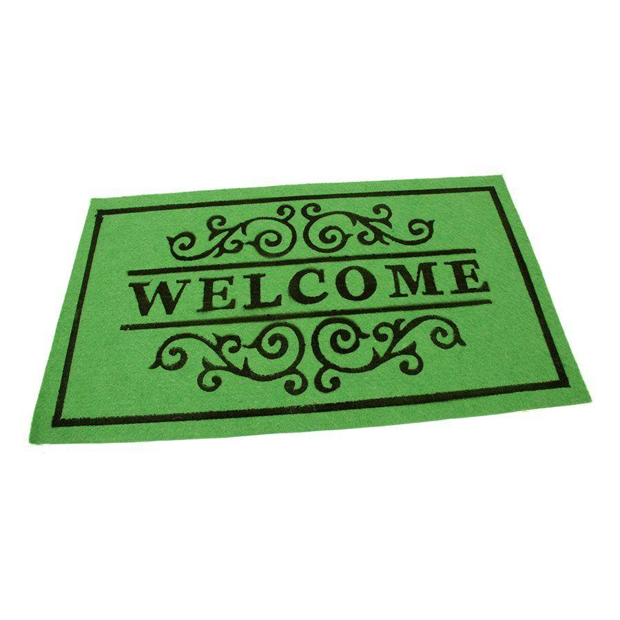 Zelená textilní vstupní čistící vnitřní rohož Welcome - Deco, FLOMAT - délka 45 cm, šířka 75 cm a výška 0,3 cm