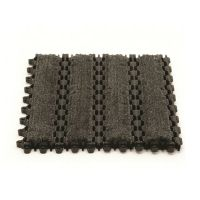 Černá plastová textilní vstupní čistící rohož (dlaždice) Helix Z2 - délka 22,9 cm, šířka 30,5 cm a výška 1,1 cm