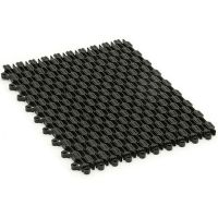 Černá plastová vstupní čistící rohož (dlaždice) Helix Z1 - délka 22,9 cm, šířka 30,5 cm a výška 1,1 cm FLOMAT