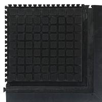 Černá podlahová protiúnavová protiskluzová dlaždice (roh) - délka 55 cm, šířka 55 cm a výška 2 cm