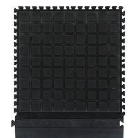 Černá podlahová protiúnavová protiskluzová dlaždice (roh) - délka 55 cm, šířka 55 cm a výška 2 cm FLOMAT
