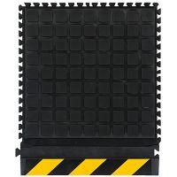Černo-žlutá podlahová protiúnavová protiskluzová dlaždice (roh) - délka 55 cm, šířka 55 cm a výška 2 cm FLOMAT