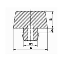 Pryžový doraz nástrčný do díry - průměr 1,5 cm, výška 0,8 cm a výška krku 0,2 cm FLOMAT