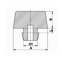 Pryžový doraz nástrčný do díry - průměr 1,7 cm, výška 0,9 cm a výška krku 0,2 cm FLOMAT