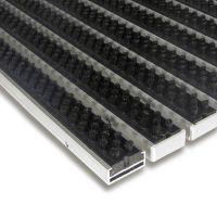 Černá hliníková kartáčová venkovní vstupní rohož Alu Super, FLOMAT - délka 100 cm, šířka 150 cm a výška 1,7 cm