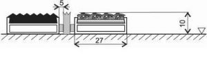 Textilní gumová hliníková kartáčová vnitřní vstupní rohož Alu Low Extra, FLOMAT - délka 60 cm, šířka 90 cm a výška 1 cm
