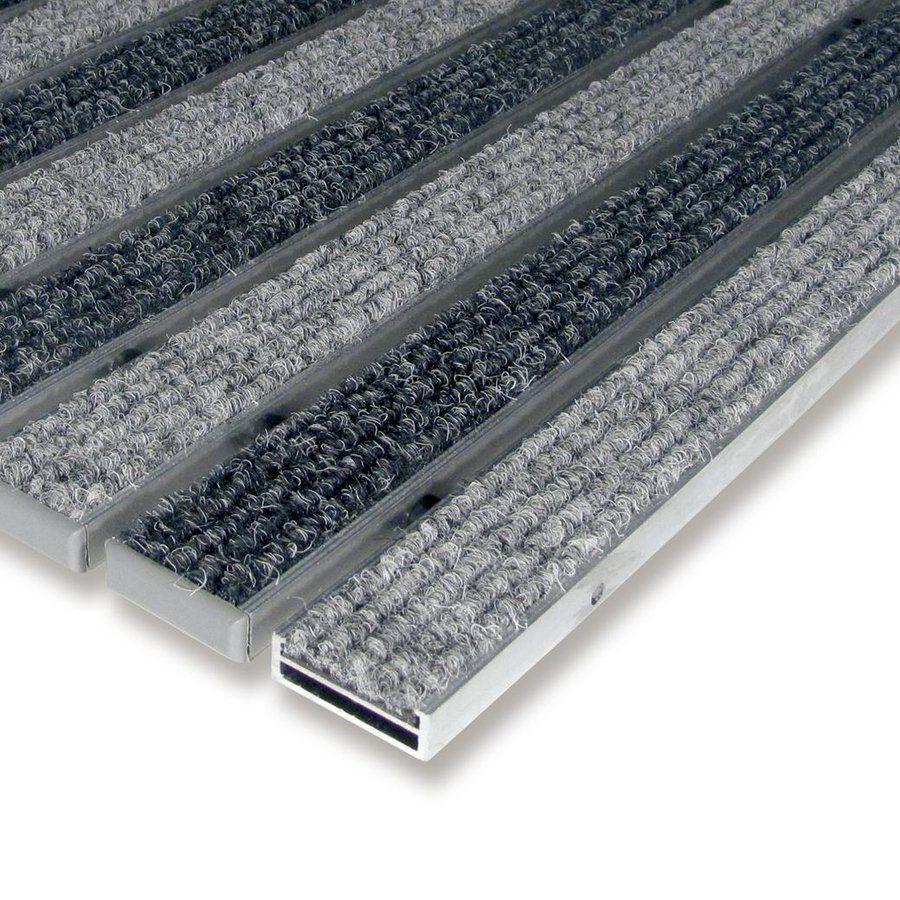 Hliníková textilní vstupní vnitřní rohož Alu Low, FLOMAT - délka 60 cm, šířka 90 cm a výška 1 cm