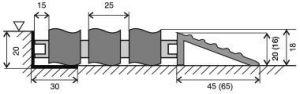 Hliníková gumová vstupní venkovní rohož Alu Wave, FLOMAT - délka 150 cm, šířka 100 cm a výška 1,8 cm
