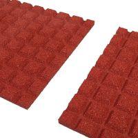 Červená gumová dlaždice (V25/R15) - délka 50 cm, šířka 50 cm a výška 2,5 cm