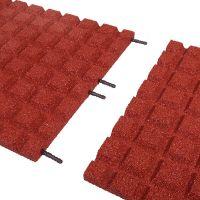 Červená gumová dlaždice (V30/R15) - délka 50 cm, šířka 50 cm a výška 3 cm