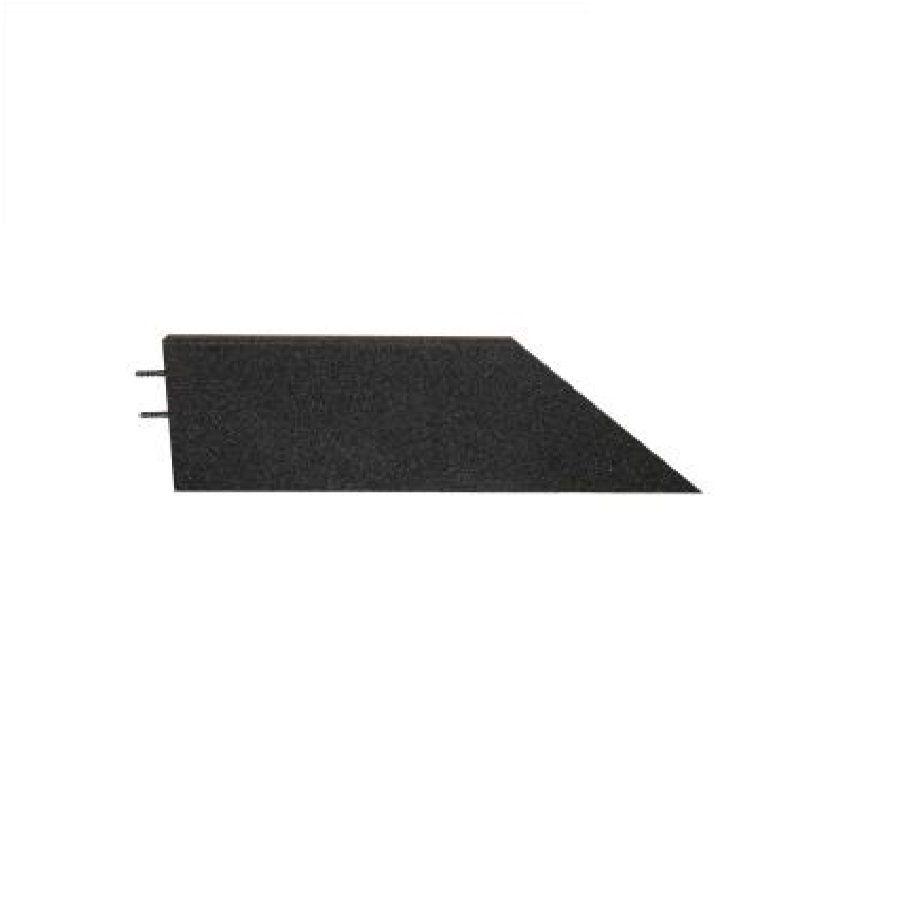 Černý levý nájezd (roh) pro gumové dlaždice - délka 75 cm, šířka 30 cm a výška 3 cm FLOMAT