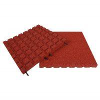 Červená gumová dlaždice (V30/R18) - délka 50 cm, šířka 50 cm a výška 3 cm