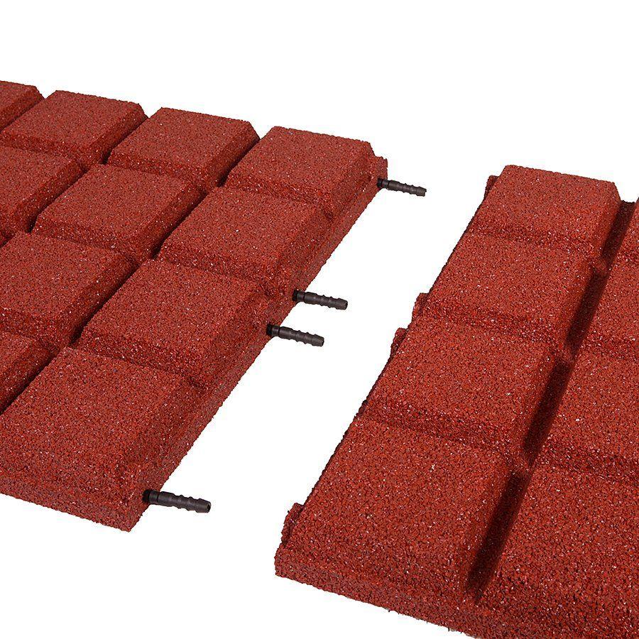 Červená gumová dlaždice (V45/R25BIG) - délka 50 cm, šířka 50 cm a výška 4,5 cm FLOMAT