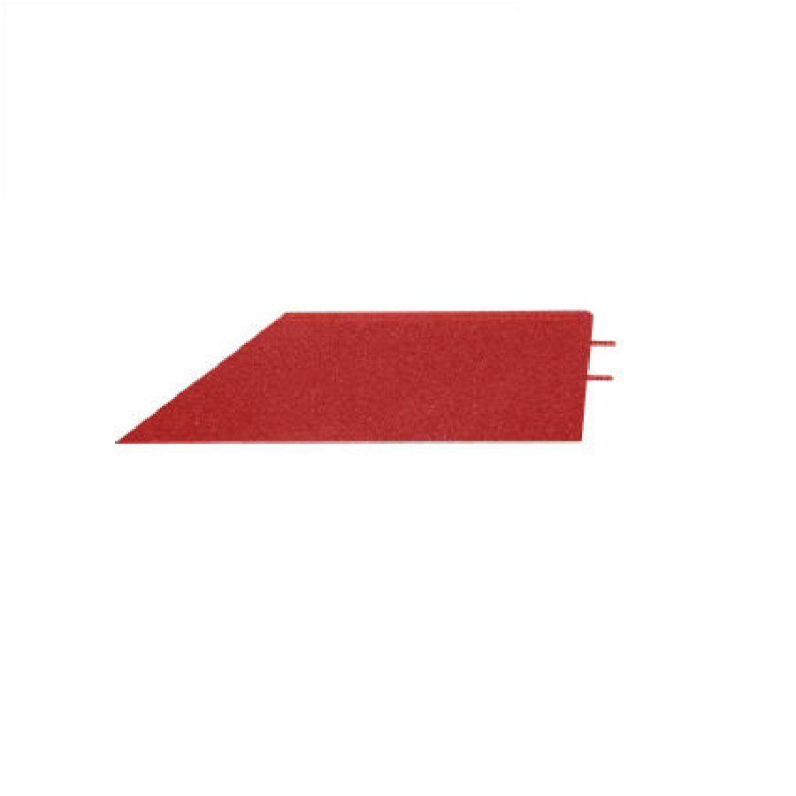 Červený pravý nájezd (roh) pro gumové dlaždice - délka 75 cm, šířka 30 cm a výška 3 cm FLOMAT