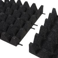 Černá gumová dlaždice (V100/R75) - délka 50 cm, šířka 50 cm a výška 10 cm