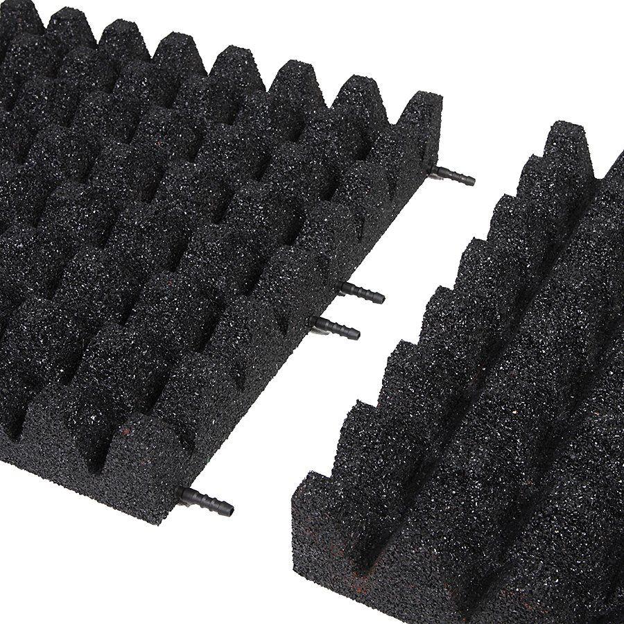 Černá gumová dlaždice (V80/R50) - délka 50 cm, šířka 50 cm a výška 8 cm FLOMAT