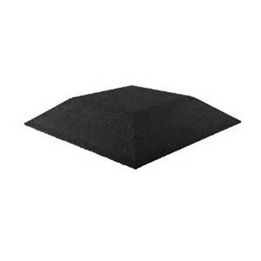 Černá gumová krajová dlaždice (roh) (V80/R00) - délka 50 cm, šířka 50 cm a výška 8 cm FLOMAT