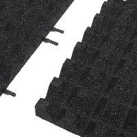 Černá gumová krajová dlaždice (V45/R28) - délka 50 cm, šířka 25 cm a výška 4,5 cm