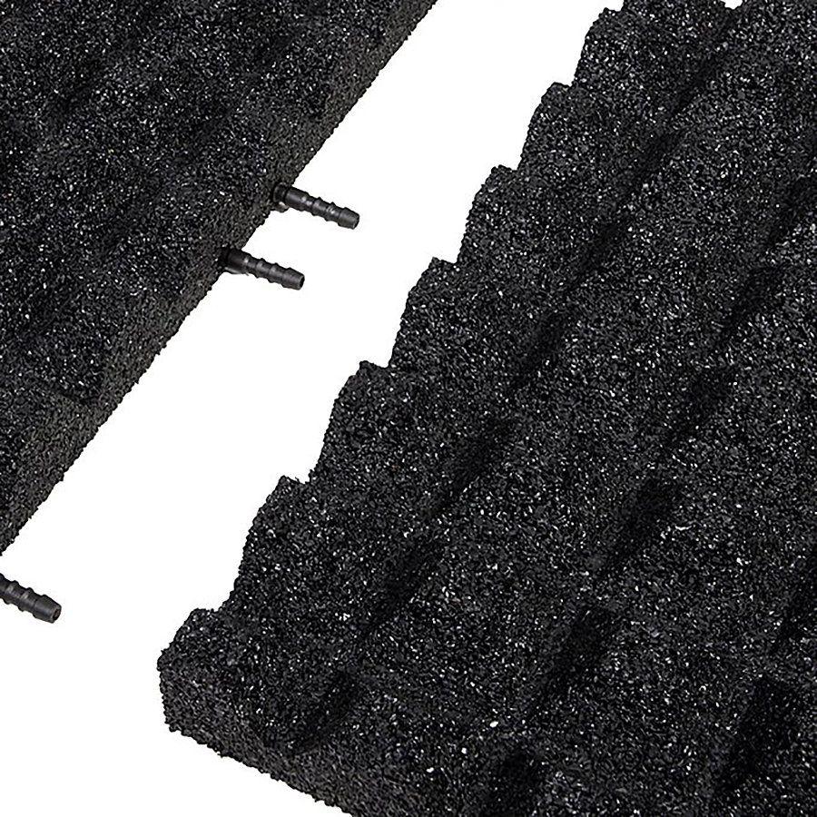 Černá gumová krajová dlaždice (V50/R28) - délka 50 cm, šířka 25 cm a výška 5 cm FLOMAT