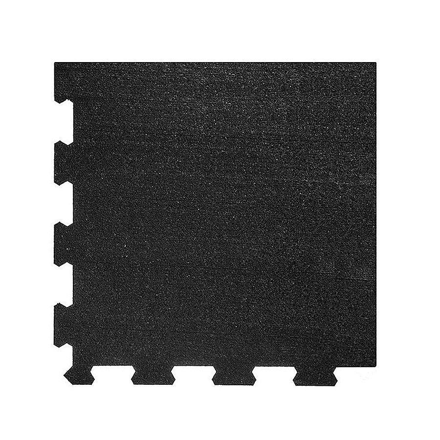 Černá pryžová modulární fitness deska (roh) SF1050 - délka 47,8 cm, šířka 47,8 cm a výška 0,8 cm FLOMAT