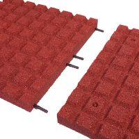 Červená gumová dlaždice (V50/R15) - délka 100 cm, šířka 100 cm a výška 5 cm
